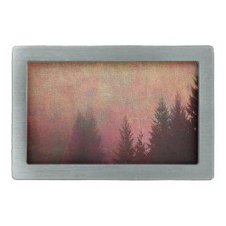 Abstract Forest Landscape Art Grunge Sky Colors Belt Buckles