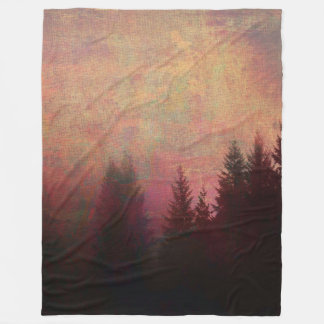 Abstract Forest Landscape Art Grunge Sky Colors Fleece Blanket
