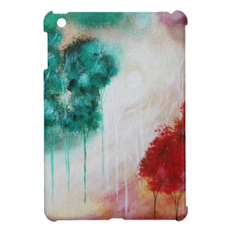 Abstract Forest, Moon, Teal Red White Skinny Trees iPad Mini Cover