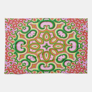 Abstract Fractal Art Pink And Green Tea Towel