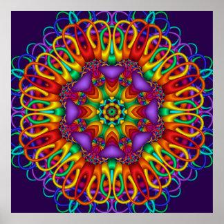 Abstract fractal  Bright shining Mandala Posters