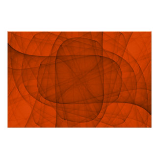 Abstract Fractal Eternal Rounded Cross in Red Poster
