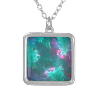 Abstract fractal in a cold palette silver plated necklace