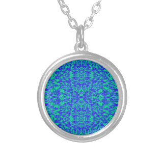 Abstract Fractal In Blue And Green Silver Plated Necklace
