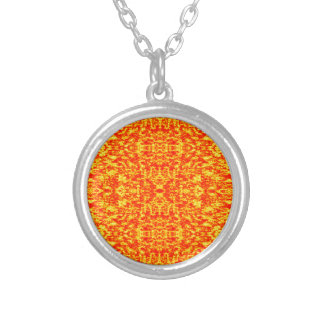 Abstract Fractal In Red And Orange Silver Plated Necklace