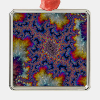 Abstract fractal patterns and shapes. Fractal Art Silver-Colored Square Decoration