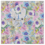 Abstract French bulldog floral watercolor paint Fabric