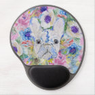 Abstract French bulldog floral watercolor paint Gel Mouse Pad