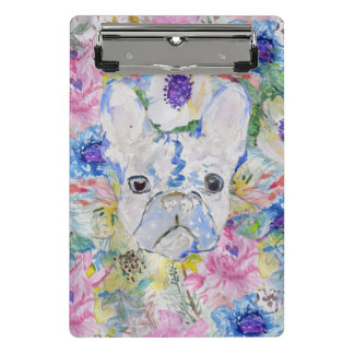 Abstract French bulldog floral watercolor paint Mini Clipboard