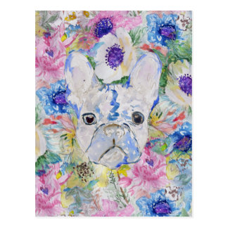 Abstract French bulldog floral watercolor paint Postcard