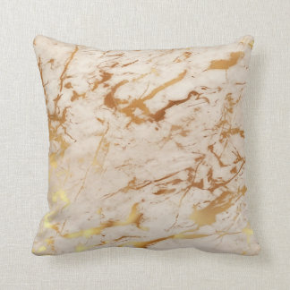 Abstract Fresh Creamy Gold Marble Luxury Pastel Cushion