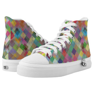 Abstract Fun Colourful Squares High Top Shoes Printed Shoes