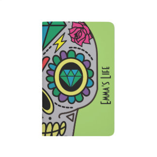 Abstract Funky Colorful sugar skull Journal