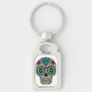 Abstract Funky Colorful sugar skull Key Ring