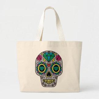 Abstract Funky Colorful sugar skull Large Tote Bag