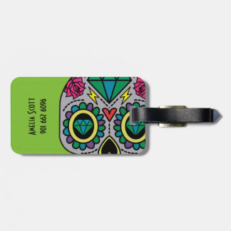Abstract Funky Colorful sugar skull Luggage Tag