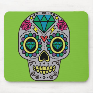 Abstract Funky Colorful sugar skull Mouse Pad