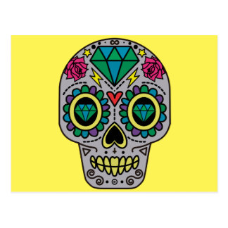 Abstract Funky Colorful sugar skull Postcard