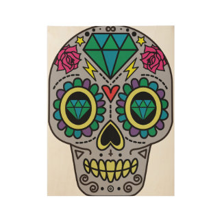 Abstract Funky Colorful sugar skull Wood Poster