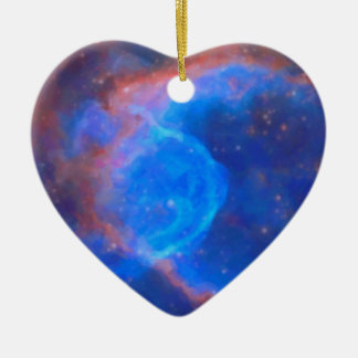 Abstract Galactic Nebula with cosmic cloud 10 xl.j Ceramic Heart Decoration