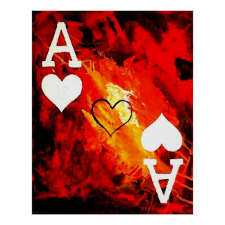 ABSTRACT GALAXY ACES OF HEARTS POSTER