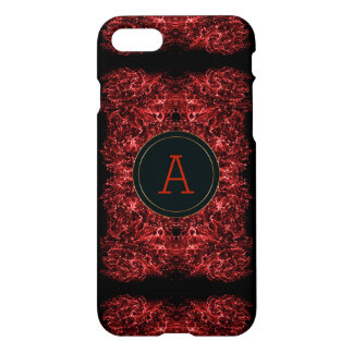 Abstract galaxy red texture.monogram. iPhone 7 case