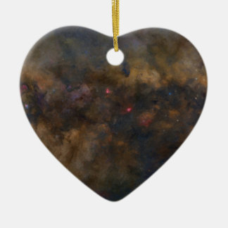 Abstract Galaxy with cosmic cloud 2 Ceramic Heart Decoration