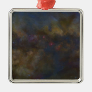 Abstract Galaxy with cosmic cloud sml Silver-Colored Square Decoration