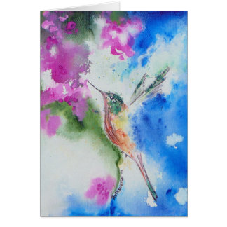 Abstract Garden Hummingbird Greeting & Note Card