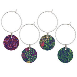 Abstract Garden Set of Wine Charms