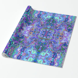 Abstract Geode Marbling in Peacock Colors Wrapping Paper