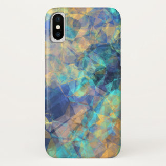 Abstract Geologic Crystal Pattern Blue Green Gold