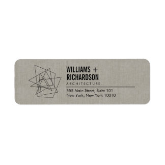 Abstract Geometric Architectural Logo Linen/Black Return Address Label
