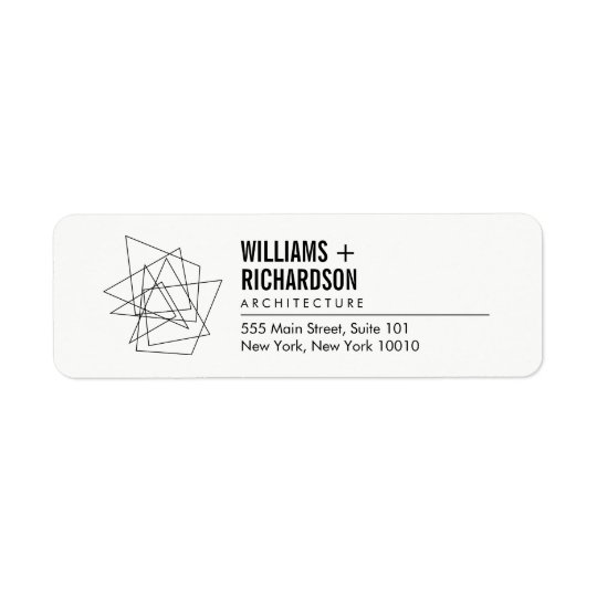 Abstract Geometric Architectural Logo White/Black Return Address Label