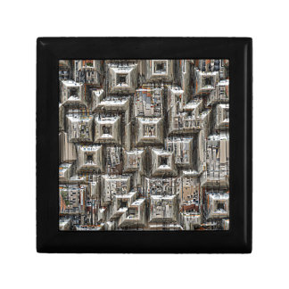 Abstract Geometric City Collage Small Square Gift Box