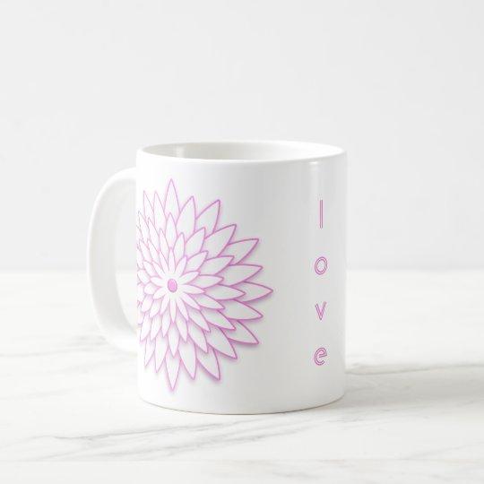 Abstract geometric Flower. Text. Coffee Mug