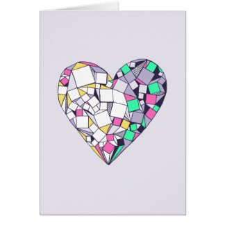 Abstract Geometric Heart Blank Greeting Card