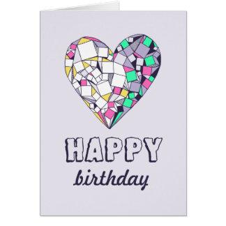 Abstract Geometric Heart Happy Birthday Card
