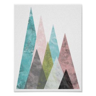 Abstract Geometric Mountains 2, turquoise & pink Poster