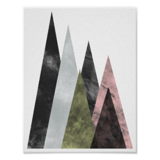 Abstract Geometric Mountains Poster in pink & gold