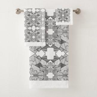 Abstract Geometric Overlap Bath Towel Set
