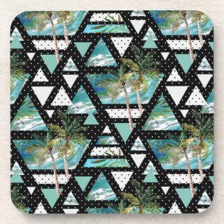 Abstract Geometric Palms & Waves Pattern Coaster