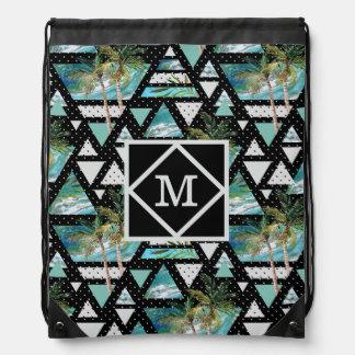 Abstract Geometric Palms & Waves Pattern Drawstring Bag