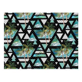 Abstract Geometric Palms & Waves Pattern Postcard