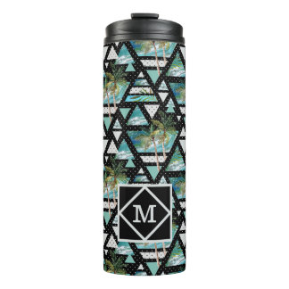 Abstract Geometric Palms & Waves Pattern Thermal Tumbler