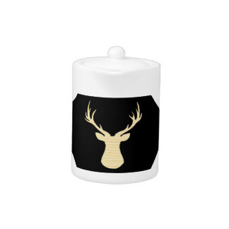 Abstract geometric pattern - beige Deer - black.