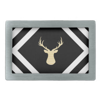Abstract geometric pattern - beige Deer - black. Belt Buckle