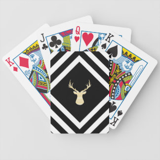 Abstract geometric pattern - beige Deer - black. Bicycle Playing Cards