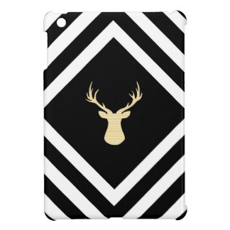 Abstract geometric pattern - beige Deer - black. iPad Mini Cover