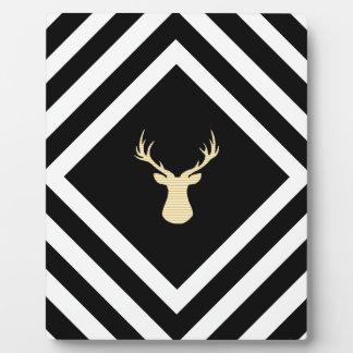 Abstract geometric pattern - beige Deer - black. Plaque